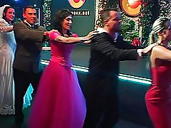 3 movies - Video Clips of night club wedding reception party with lots of brides in sexy silk and satin outfits going down on the grooms or each other at drunk s